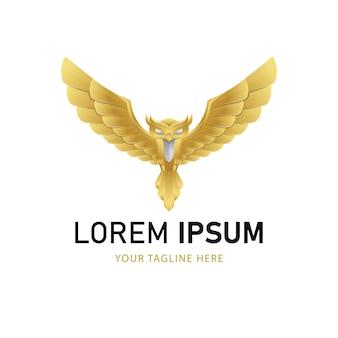 Goldenes eulen-logo-design. gradient animal logo style