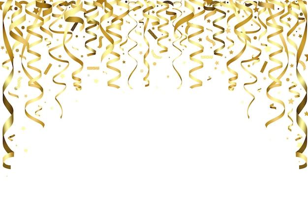 Goldenes fallendes konfetti und bänder als partyhintergrund