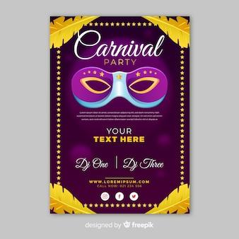Goldenes federkarnevals-partyplakat
