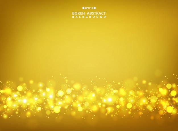 Goldenes funkeln bokeh auf goldsteigungshintergrund.