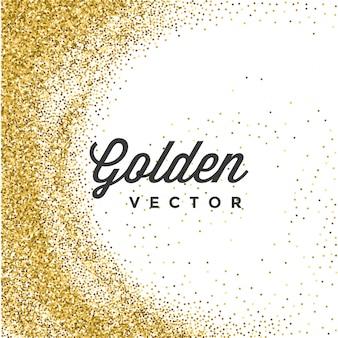 Goldenes funkeln funkelt helle konfettis auf weißem hintergrund