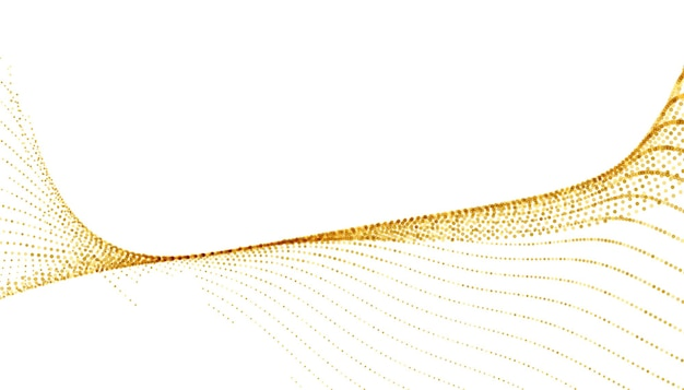 Goldenes funkelndes halbtonwellenmuster auf weißem hintergrund
