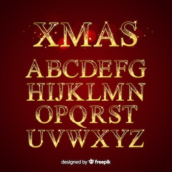 Goldenes funkelndes weihnachtsalphabet