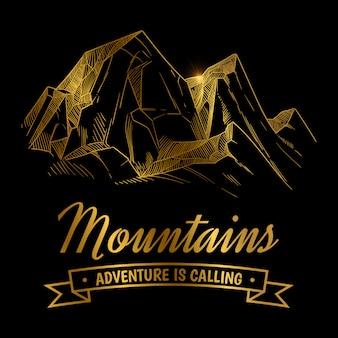 Goldenes gebirgsabenteuerdesign. hand berglandschaft