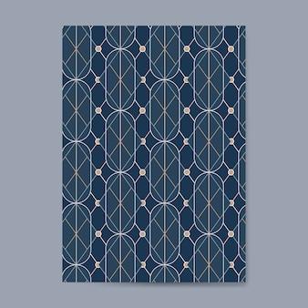 Goldenes geometrisches nahtloses muster auf einer blauen karte