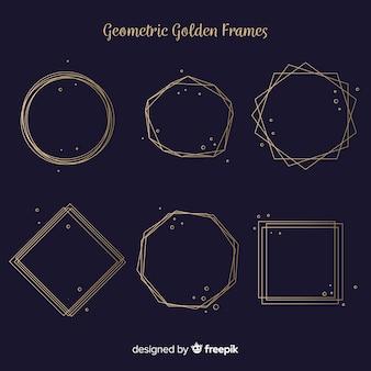 Goldenes geometrisches rahmenpaket