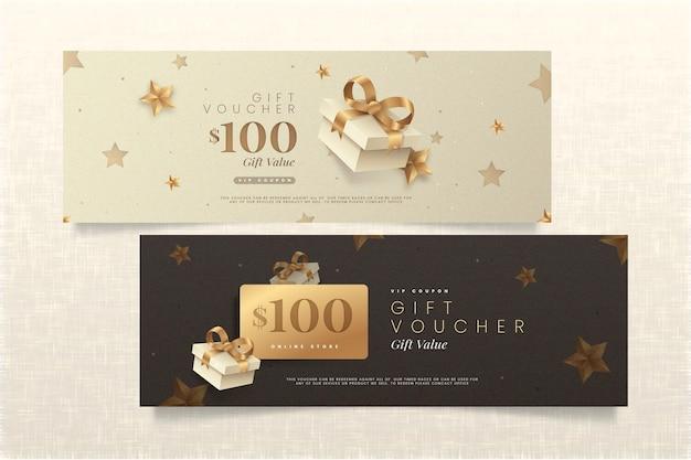 Goldenes geschenkgutschein-schablonenpaket