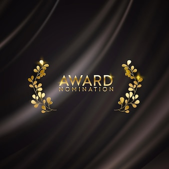 Goldenes gewinner-glitzerbanner mit lorbeerkranz. design-hintergrund für die nominierung. vektorzeremonie-luxus-einladungsschablone, realistische abstrakte seidenstoffbeschaffenheit, preisgeschäftskandidat