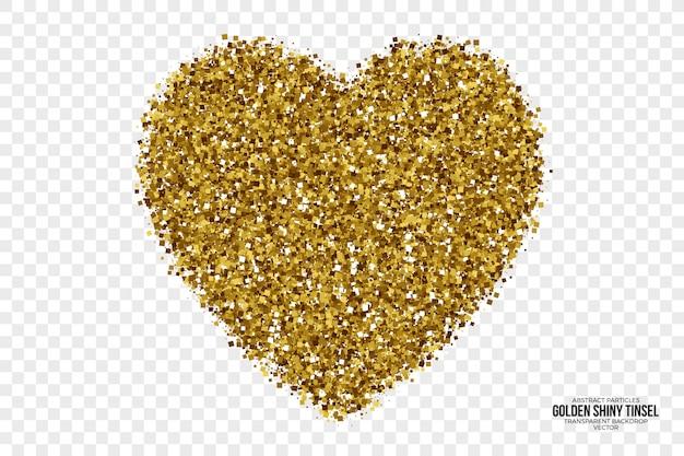 Goldenes glänzendes lametta-zusammenfassungs-vektor-herz