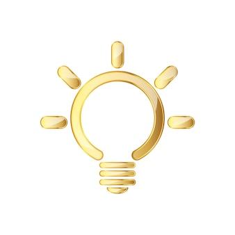 Goldenes glänzendes lampensymbol lokalisiert auf weiß
