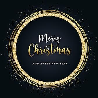 Goldenes glitzer-banner der weihnacht auf dunklem hintergrund
