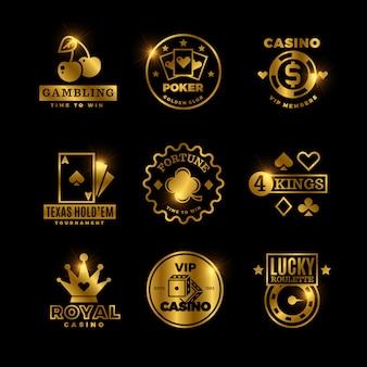 Goldenes glücksspiel, casino, königliches pokerturnier, roulette-etiketten, embleme, logos und abzeichen