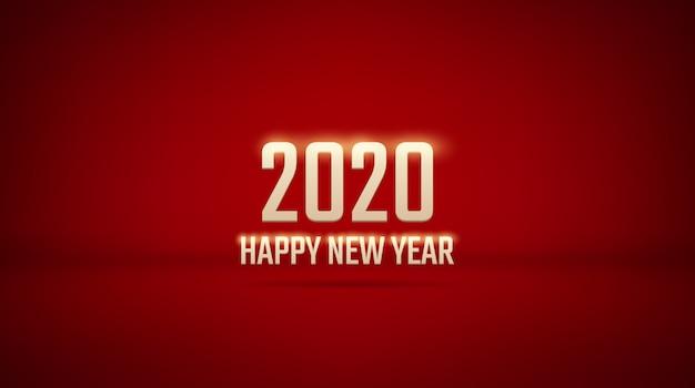 Goldenes guten rutsch ins neue jahr 2020 mit schatten auf rotem farbluxushintergrund des studios