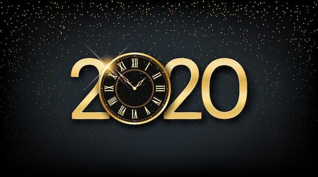 Goldenes guten rutsch ins neue jahr 2020 und uhr mit funkeln auf schwarzem farbhintergrund