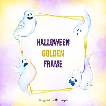 Goldenes halloween-rahmenkonzept