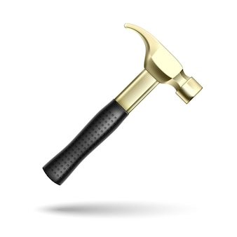 Goldenes hammerwerkzeug isoliert