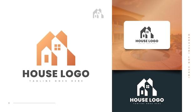 Goldenes haus-logo-design für immobilien-geschäftslogo