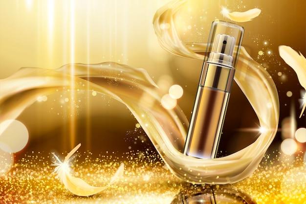 Goldenes hautpflegespray mit web-satin und federn auf schimmerndem hintergrund