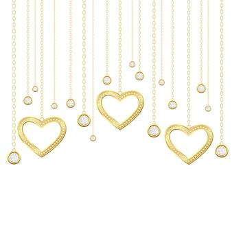 Goldenes herz und brillanten