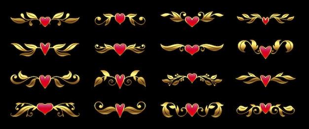 Goldenes herz und reich verzierten floralen elementsatz