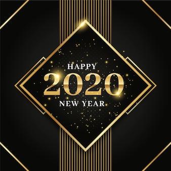 Goldenes hintergrundkonzept des neuen jahres 2020