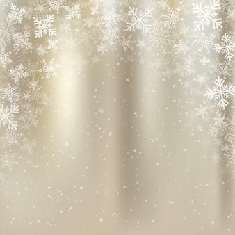 Goldenes Hintergrundweihnachten des Winters