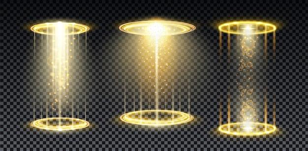 Goldenes hologramm-portal magisches kreis-teleport-podium mit hologramm-effekt vgold-glühstrahlen mit funken