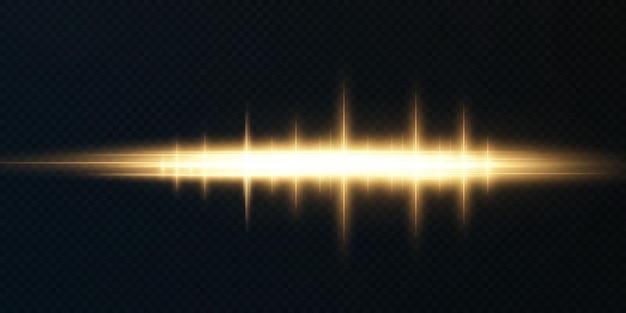 Goldenes horizontales lens flares-paket laserstrahlen horizontale lichtstrahlen schöne lichtflares