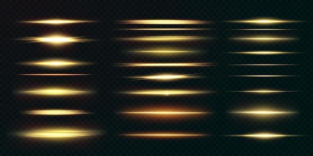 Goldenes horizontales lens flares-paket