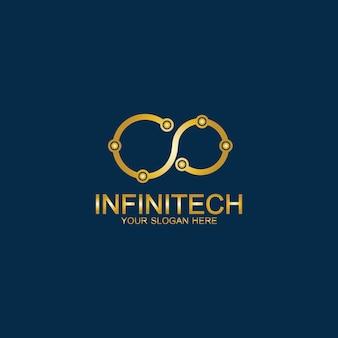 Goldenes infinity-technologie-logo. symbol- und symbolvektorvorlage.