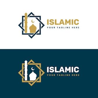 Goldenes islamisches logo in zwei farben
