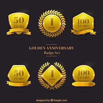 Goldenes jubiläum badge set