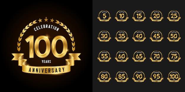 Goldenes jubiläum feier logo set.