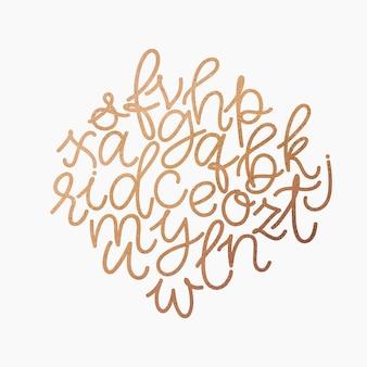 Goldenes kleinalphabet des vektors. einzigartige hand gezeichneter pastellgoldfunkelnguß