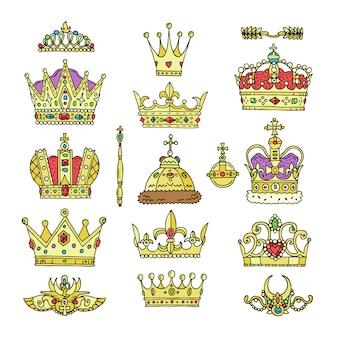 Goldenes königliches schmucksymbol des kronenvektors des königskönigin- und prinzessinillustrationszeichens des kronprinzenautoritätssatzes der kronjuwelen lokalisiert auf weißem hintergrund