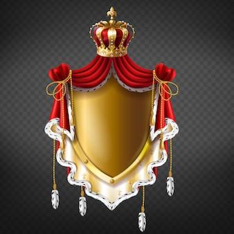 Goldenes königliches wappen mit krone, schild und fransenpelz.