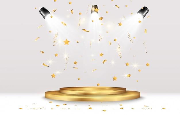 Goldenes konfetti fällt auf ein schönes podium. fallende luftschlangen auf einem podest.