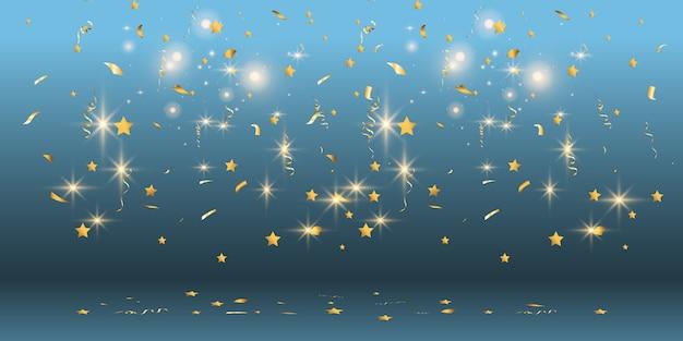 Goldenes konfetti fällt auf einen schönen hintergrund. fallende luftschlangen auf der bühne.