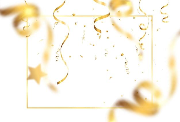 Goldenes konfetti fällt. fallende luftschlangen.