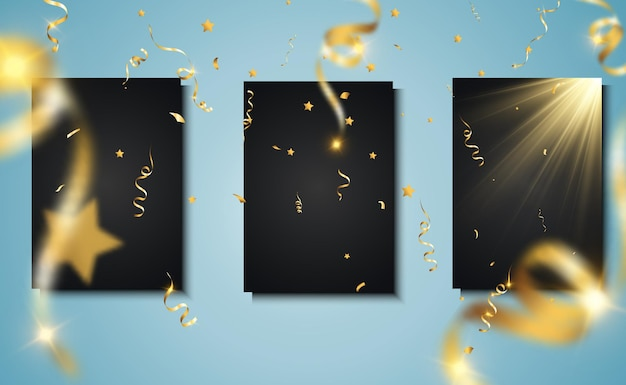 Goldenes konfetti fällt. fallende luftschlangen