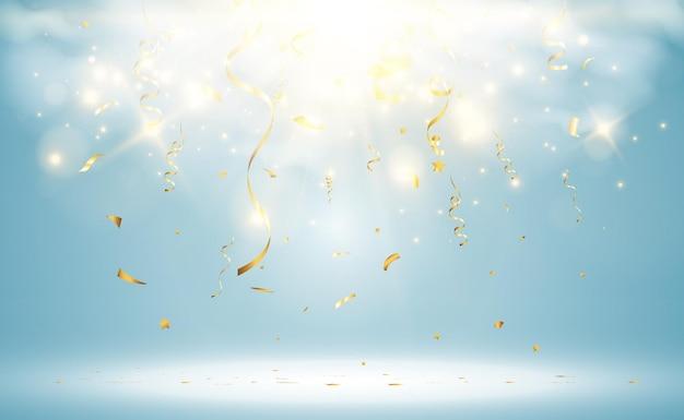 Goldenes konfetti fällt