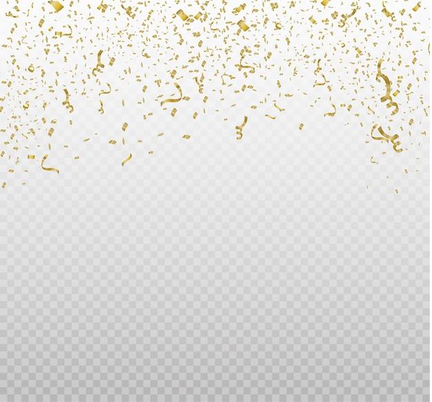 Goldenes konfetti, lokalisiert auf zellulärem hintergrund. festliche illustration winziges konfetti mit band auf weißem hintergrund. festliche veranstaltung und party. gelb.
