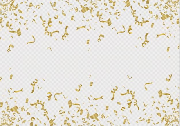 Goldenes konfetti lokalisiert auf zellulärem hintergrund