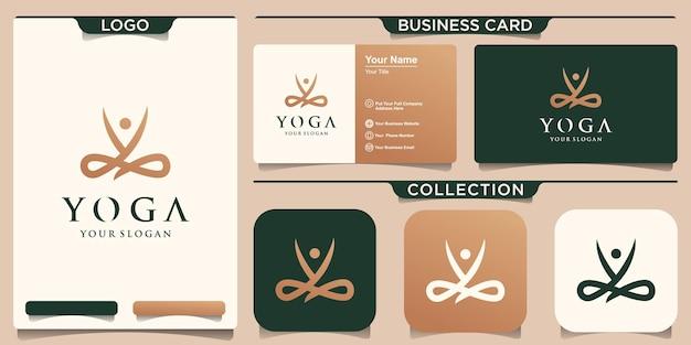 Goldenes konzept des yoga-logos und visitenkartendesign