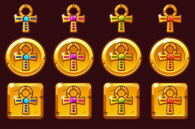 Goldenes kreuz ankh mit farbigen edelsteinen. ägyptische goldene ikonen in verschiedenen versionen