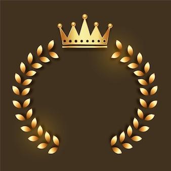 Goldenes kronenemblem mit kranzrahmen