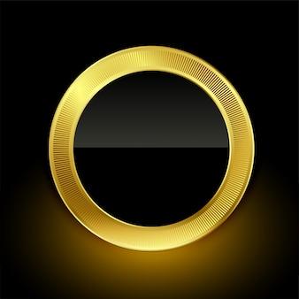 Goldenes leeres ausweisaufkleber-knopfdesign