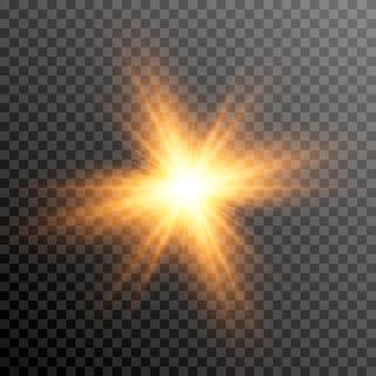 Goldenes licht ein lichtblitz ein glühen sonnenstrahlen