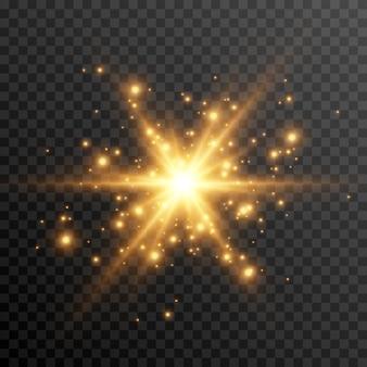 Goldenes licht ein lichtblitz und leuchtende funkenpartikel sonnenstrahlen