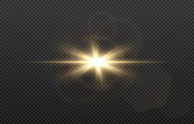 Goldenes licht mit blendung.